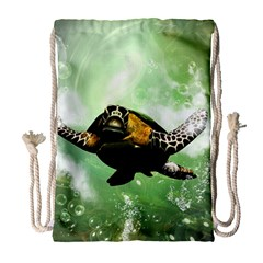 Beautiful Seaturtle With Bubbles Drawstring Bag (Large)