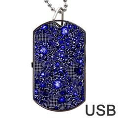 Sci Fi Fantasy Cosmos Blue Dog Tag USB Flash (One Side)