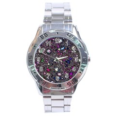 Sci Fi Fantasy Cosmos Pink Stainless Steel Men s Watch