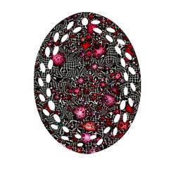 Sci Fi Fantasy Cosmos Red  Ornament (oval Filigree)