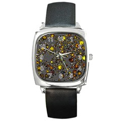 Sci Fi Fantasy Cosmos Yellow Square Metal Watches