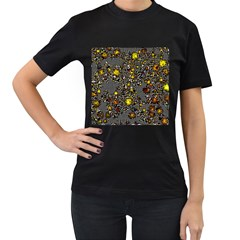 Sci Fi Fantasy Cosmos Yellow Women s T-Shirt (Black) (Two Sided)