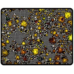 Sci Fi Fantasy Cosmos Yellow Double Sided Fleece Blanket (medium)