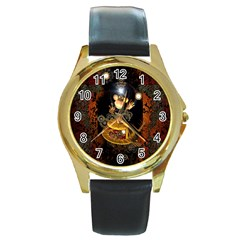 Steampunk, Funny Monkey With Clocks And Gears Round Gold Metal Watches