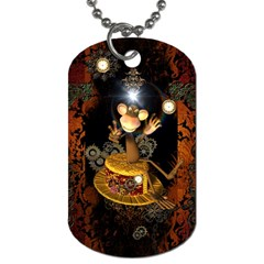 Steampunk, Funny Monkey With Clocks And Gears Dog Tag (one Side)