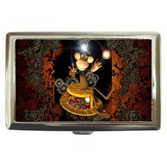 Steampunk, Funny Monkey With Clocks And Gears Cigarette Money Cases