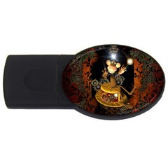 Steampunk, Funny Monkey With Clocks And Gears USB Flash Drive Oval (1 GB)