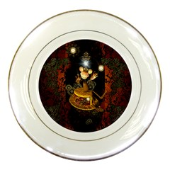Steampunk, Funny Monkey With Clocks And Gears Porcelain Plates