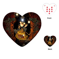 Steampunk, Funny Monkey With Clocks And Gears Playing Cards (Heart)