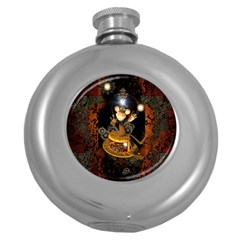 Steampunk, Funny Monkey With Clocks And Gears Round Hip Flask (5 oz)