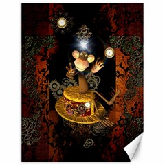 Steampunk, Funny Monkey With Clocks And Gears Canvas 12  X 16