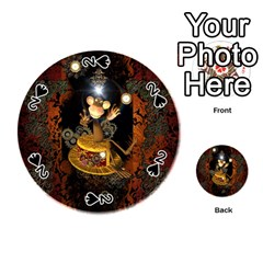 Steampunk, Funny Monkey With Clocks And Gears Playing Cards 54 (Round)