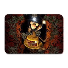 Steampunk, Funny Monkey With Clocks And Gears Plate Mats