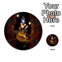 Steampunk, Funny Monkey With Clocks And Gears Multi Purpose Cards (round)