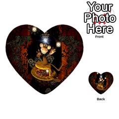 Steampunk, Funny Monkey With Clocks And Gears Multi Purpose Cards (heart)