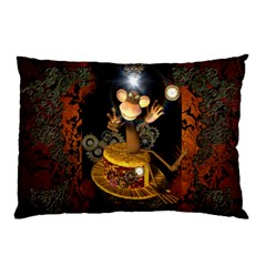 Steampunk, Funny Monkey With Clocks And Gears Pillow Cases