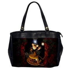 Steampunk, Funny Monkey With Clocks And Gears Office Handbags