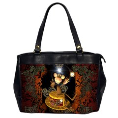 Steampunk, Funny Monkey With Clocks And Gears Office Handbags (2 Sides)