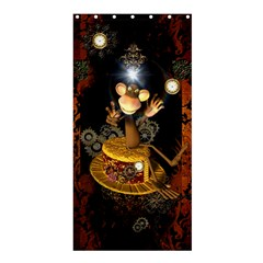 Steampunk, Funny Monkey With Clocks And Gears Shower Curtain 36  X 72  (stall)