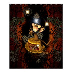 Steampunk, Funny Monkey With Clocks And Gears Shower Curtain 60  X 72  (medium)
