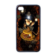 Steampunk, Funny Monkey With Clocks And Gears Apple iPhone 4 Case (Black)
