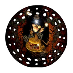 Steampunk, Funny Monkey With Clocks And Gears Round Filigree Ornament (2Side)