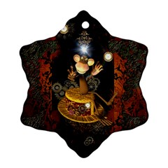 Steampunk, Funny Monkey With Clocks And Gears Snowflake Ornament (2 Side)