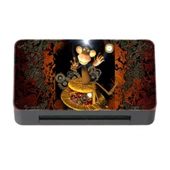 Steampunk, Funny Monkey With Clocks And Gears Memory Card Reader with CF