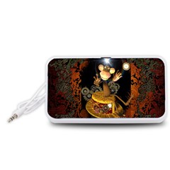 Steampunk, Funny Monkey With Clocks And Gears Portable Speaker (White)
