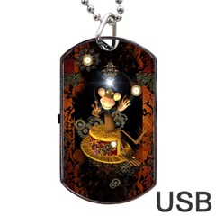 Steampunk, Funny Monkey With Clocks And Gears Dog Tag Usb Flash (one Side)
