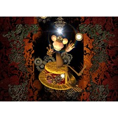 Steampunk, Funny Monkey With Clocks And Gears Birthday Cake 3D Greeting Card (7x5)