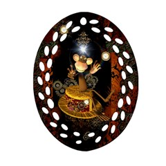 Steampunk, Funny Monkey With Clocks And Gears Oval Filigree Ornament (2-Side)