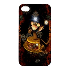 Steampunk, Funny Monkey With Clocks And Gears Apple iPhone 4/4S Premium Hardshell Case