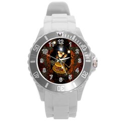 Steampunk, Funny Monkey With Clocks And Gears Round Plastic Sport Watch (L)