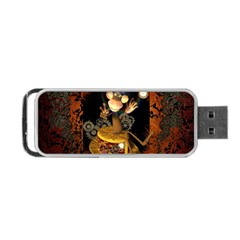 Steampunk, Funny Monkey With Clocks And Gears Portable USB Flash (One Side)