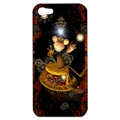 Steampunk, Funny Monkey With Clocks And Gears Apple iPhone 5 Hardshell Case