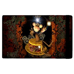 Steampunk, Funny Monkey With Clocks And Gears Apple iPad 3/4 Flip Case
