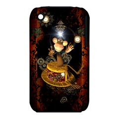 Steampunk, Funny Monkey With Clocks And Gears Apple iPhone 3G/3GS Hardshell Case (PC+Silicone)