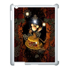 Steampunk, Funny Monkey With Clocks And Gears Apple iPad 3/4 Case (White)