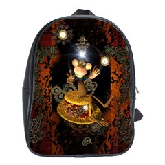 Steampunk, Funny Monkey With Clocks And Gears School Bags (XL)