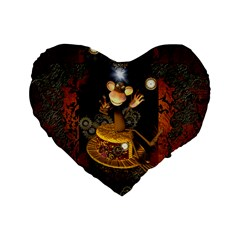 Steampunk, Funny Monkey With Clocks And Gears Standard 16  Premium Heart Shape Cushions