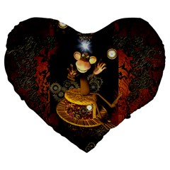 Steampunk, Funny Monkey With Clocks And Gears Large 19  Premium Heart Shape Cushions