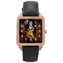 Steampunk, Funny Monkey With Clocks And Gears Rose Gold Watches