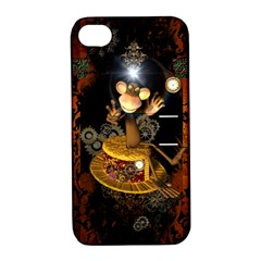 Steampunk, Funny Monkey With Clocks And Gears Apple Iphone 4/4s Hardshell Case With Stand