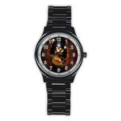 Steampunk, Funny Monkey With Clocks And Gears Stainless Steel Round Watches