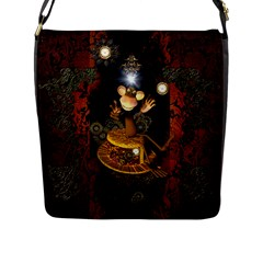 Steampunk, Funny Monkey With Clocks And Gears Flap Messenger Bag (L)