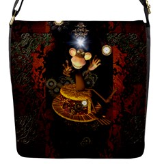 Steampunk, Funny Monkey With Clocks And Gears Flap Messenger Bag (S)
