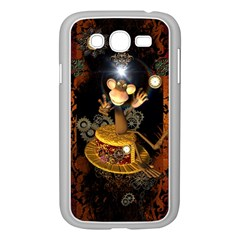 Steampunk, Funny Monkey With Clocks And Gears Samsung Galaxy Grand DUOS I9082 Case (White)