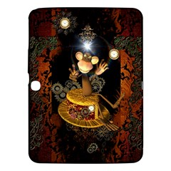 Steampunk, Funny Monkey With Clocks And Gears Samsung Galaxy Tab 3 (10.1 ) P5200 Hardshell Case