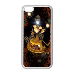 Steampunk, Funny Monkey With Clocks And Gears Apple iPhone 5C Seamless Case (White)